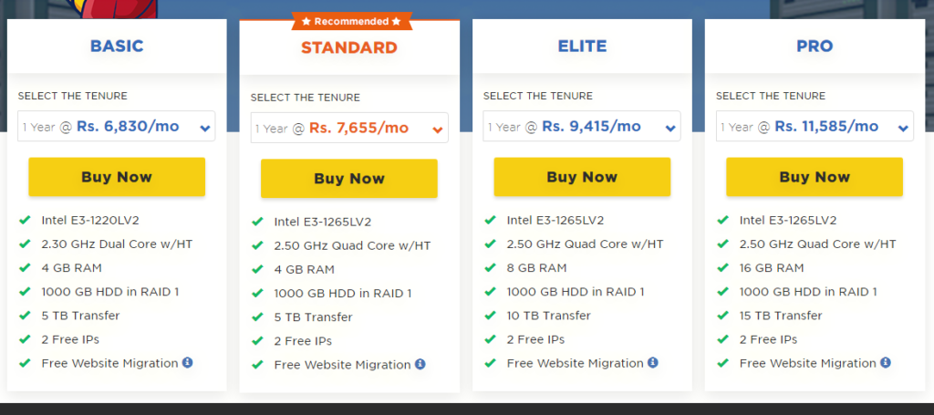 HostGator Dedicated Server hosting plans with features and price